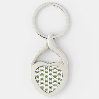 Worried Robot Character Illustration Pattern Silver-Colored Twisted Heart Keychain