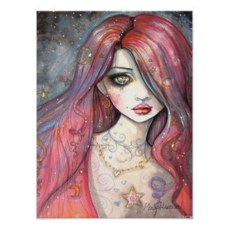 Worry 12 x 16 Poster Contemporary Girl Fantasy Art