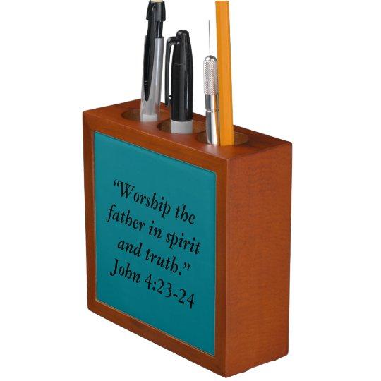 """Worship"" Inspirational Desk Set Desk Organizer"