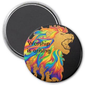 Worship is arising 3 inch round magnet
