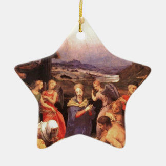 Worship_of_the_shepherds_by_bronzino Ceramic Ornament