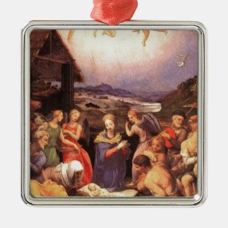 Worship_of_the_shepherds_by_bronzino Silver-Colored Square Ornament