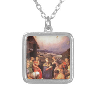 Worship_of_the_shepherds_by_bronzino Silver Plated Necklace
