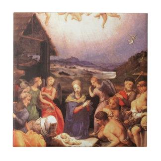 Worship_of_the_shepherds_by_bronzino Tile