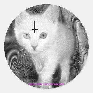 worship the kitty round sticker