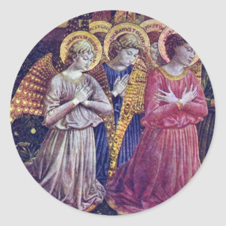Worshipers Angels By Gozzoli Benozzo Classic Round Sticker