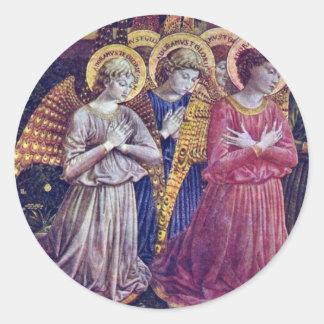 Worshipers Angels By Gozzoli Benozzo Round Sticker