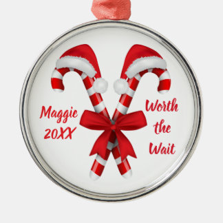 Worth the Wait - Customized Candy Canes Adoption Metal Ornament