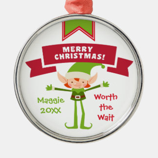 Worth the Wait - Customized Elf Adoption Gift Metal Ornament