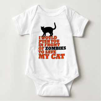would push you front zombie save my cat funny baby bodysuit