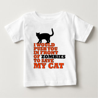 would push you front zombie save my cat funny baby T-Shirt