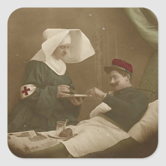 Wounded Soldier & French Nurse WWI Square Sticker