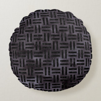 WOVEN1 BLACK MARBLE & BLACK WATERCOLOR (R) ROUND PILLOW