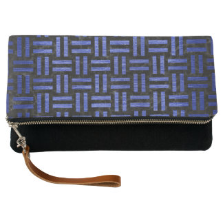 WOVEN1 BLACK MARBLE & BLUE BRUSHED METAL CLUTCH
