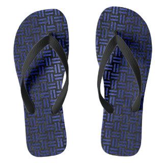 WOVEN1 BLACK MARBLE & BLUE BRUSHED METAL FLIP FLOPS