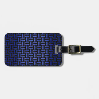 WOVEN1 BLACK MARBLE & BLUE BRUSHED METAL LUGGAGE TAG