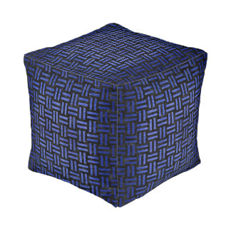 WOVEN1 BLACK MARBLE & BLUE BRUSHED METAL POUF