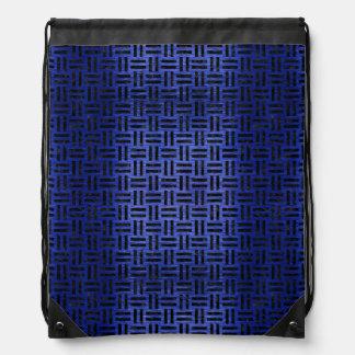 WOVEN1 BLACK MARBLE & BLUE BRUSHED METAL (R) DRAWSTRING BAG