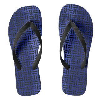 WOVEN1 BLACK MARBLE & BLUE BRUSHED METAL (R) FLIP FLOPS