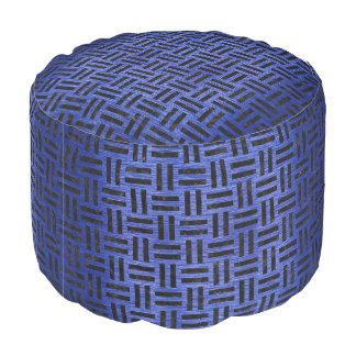 WOVEN1 BLACK MARBLE & BLUE BRUSHED METAL (R) POUF