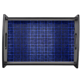 WOVEN1 BLACK MARBLE & BLUE BRUSHED METAL (R) SERVING TRAY