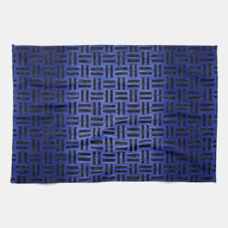 WOVEN1 BLACK MARBLE & BLUE BRUSHED METAL (R) TOWELS