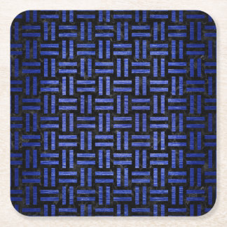 WOVEN1 BLACK MARBLE & BLUE BRUSHED METAL SQUARE PAPER COASTER