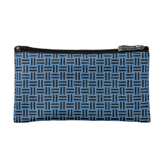 WOVEN1 BLACK MARBLE & BLUE COLORED PENCIL (R) COSMETIC BAG