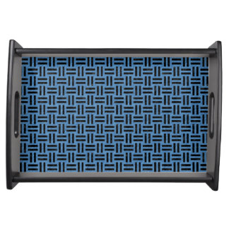 WOVEN1 BLACK MARBLE & BLUE COLORED PENCIL (R) SERVING TRAY