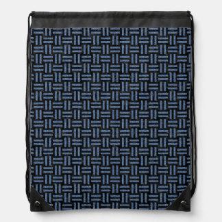 WOVEN1 BLACK MARBLE & BLUE DENIM DRAWSTRING BAG