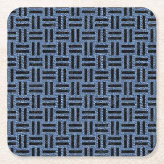WOVEN1 BLACK MARBLE & BLUE DENIM (R) SQUARE PAPER COASTER