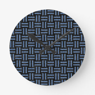 WOVEN1 BLACK MARBLE & BLUE DENIM ROUND CLOCK