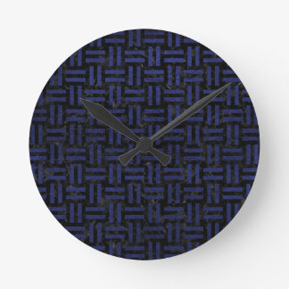 WOVEN1 BLACK MARBLE & BLUE LEATHER CLOCK