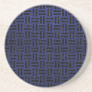 WOVEN1 BLACK MARBLE & BLUE LEATHER (R) COASTER