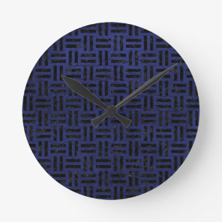 WOVEN1 BLACK MARBLE & BLUE LEATHER (R) ROUND CLOCK