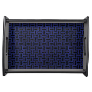 WOVEN1 BLACK MARBLE & BLUE LEATHER (R) SERVING TRAY