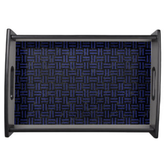 WOVEN1 BLACK MARBLE & BLUE LEATHER SERVING TRAY