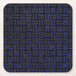 WOVEN1 BLACK MARBLE & BLUE LEATHER SQUARE PAPER COASTER