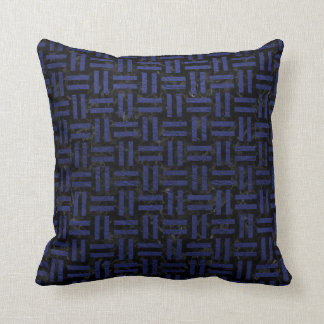 WOVEN1 BLACK MARBLE & BLUE LEATHER THROW PILLOW