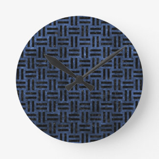 WOVEN1 BLACK MARBLE & BLUE STONE (R) CLOCK