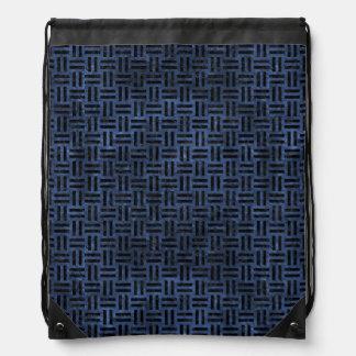 WOVEN1 BLACK MARBLE & BLUE STONE (R) DRAWSTRING BAG