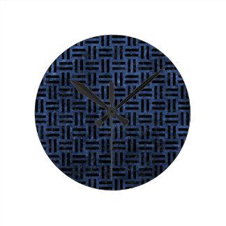 WOVEN1 BLACK MARBLE & BLUE STONE (R) ROUND CLOCK