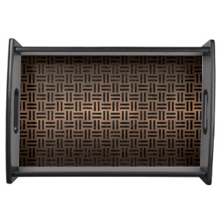 WOVEN1 BLACK MARBLE & BRONZE METAL (R) SERVING TRAY