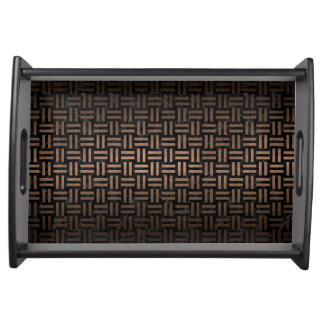 WOVEN1 BLACK MARBLE & BRONZE METAL SERVING TRAY