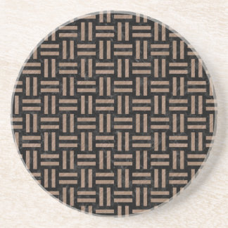 WOVEN1 BLACK MARBLE & BROWN COLORED PENCIL COASTER