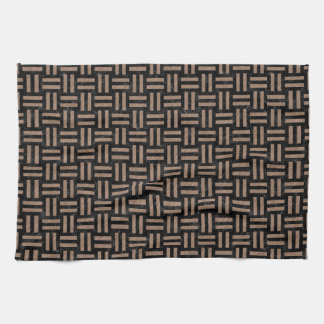 WOVEN1 BLACK MARBLE & BROWN COLORED PENCIL KITCHEN TOWEL