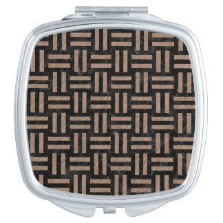 WOVEN1 BLACK MARBLE & BROWN COLORED PENCIL MAKEUP MIRRORS
