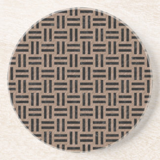 WOVEN1 BLACK MARBLE & BROWN COLORED PENCIL (R) COASTER