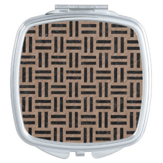 WOVEN1 BLACK MARBLE & BROWN COLORED PENCIL (R) COMPACT MIRRORS