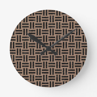 WOVEN1 BLACK MARBLE & BROWN COLORED PENCIL (R) ROUND CLOCK
